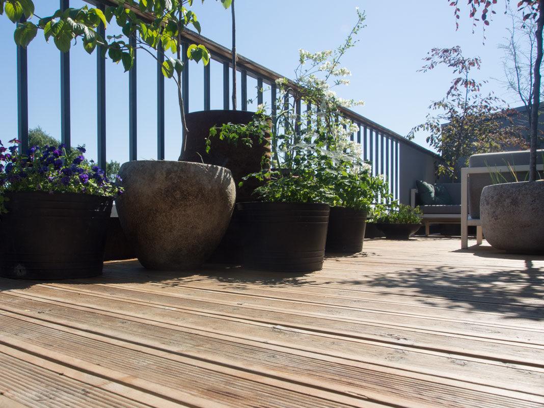 terrassegulv behandlet med sioox trebeskyttelse